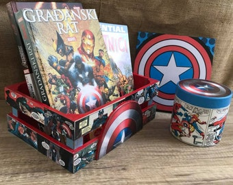 Captain America set, Kids room, Pop art, Colorful, Marvel, Superhero decor, Home decor, Gift for Men, Comic decor, Avengers set