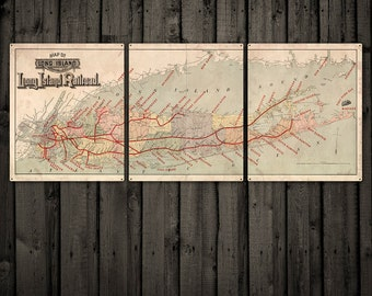 """Vintage Long Island METAL Map Triptych 60x24"""" FREE SHIPPING"""