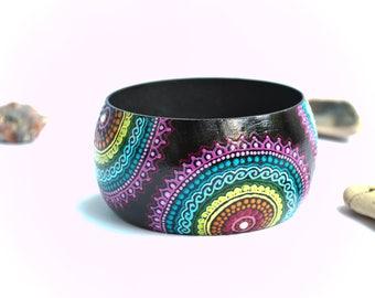 Statement bracelet Yoga bracelet Wooden bracelet Wide bracelet Wooden bangle Unique bracelet Multicolor bracelet Woman bangle