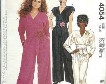 McCall's 4054 Misses Front Wrapped Jumpsuit Pattern, Brooke, Size XS and Small UNCUT