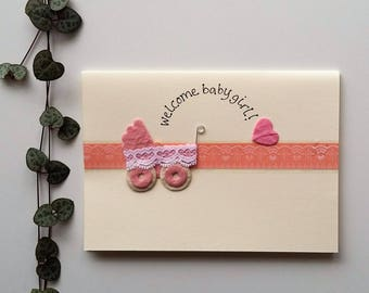 Welcome Baby Girl - Baby Pram Card - a6 new baby card, new baby girl card, it's a girl card, handmade card, new arrival card, recycled card