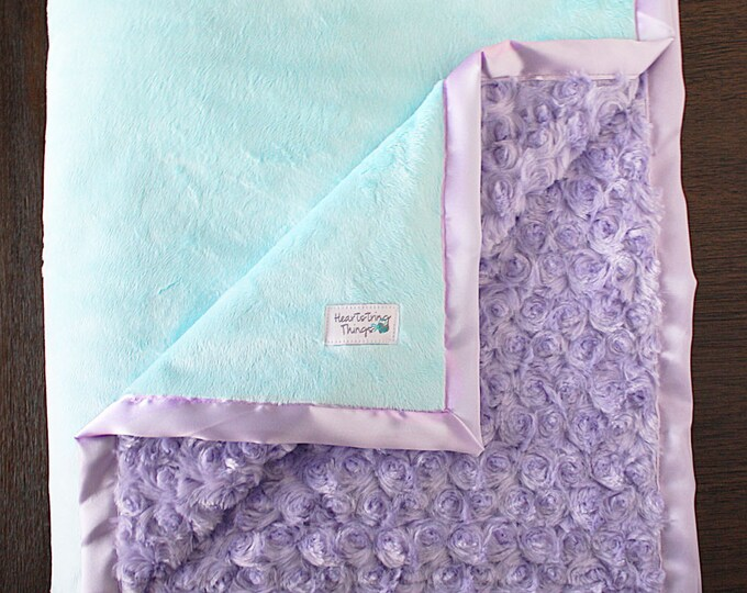 Minky Blanket, baby girl, blanket for girl, aqua and lavender, baby girl, soft blanket, Lattice Print, Ruffle Blanket, baby gift ideas