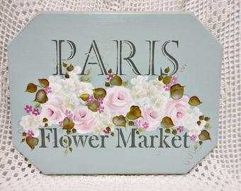 Shabby Paris Flower Market Wood Sign, Hand Painted Roses, Hydrangeas, Wall Art, Home Decor, French Inspiration, ECS, CSSTeam