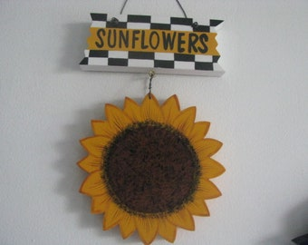 Sunflower wall hanging, sunflower plaque, wall hanging, sunflower kitchen wall hanging, handpainted, gift for her, hostess gift,