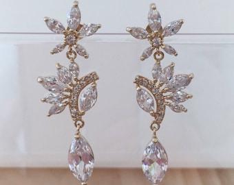 Wedding Earrings, Bridal Earrings, Earrings for Wedding, Delicate Earrings, Gold Filled Earrings, Diamond Earrings, Gold Earrings