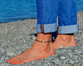 Anchor anklet for men, men's anklet with a silver anchor, black cord, anklet for men, gift for men, men's ankle bracelet, nautical jewelry