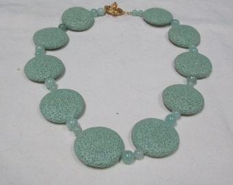 Hand made one of a kind Necklace  W/Green Turquoise