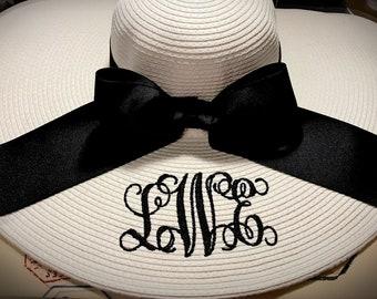 Monogrammed Personalized floppy hat, Bride, Bridesmaid, Derby, Bachelorette, Honeymoon, Beach, Vacation Hat