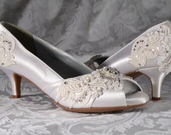 Woman's Low Heel Wedding Shoes- Woman's Vintage Wedding Lace Peep Toe Heels, Women's Bridal Shoes, Wedding Shoes, Women's shoes Bridesmaid