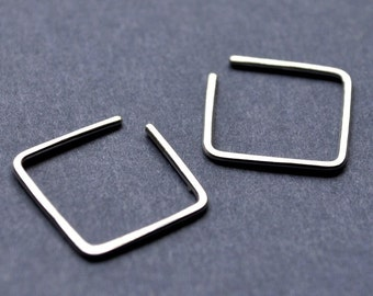 Earrings. Little Square Hoops. Modern Contemporary Simple Sleek Elegant Design. Sterling Silver Jewelry.