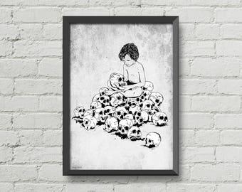 Skull boy,skulls,skulls poster,wall decor,home decor,black and white,graveyard,gothic art,digital print,man cave art