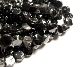Nailhead glass beads faceted shiny gunmetal black 5mm 1 hank