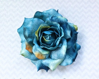 Pinup Hair Flower, Deluxe Rose Hair Flower, Floral Headpiece, Blue Rose Hair clip, Rockabilly Rose, Bridal Rose, Blue Rose, Day of the Dead