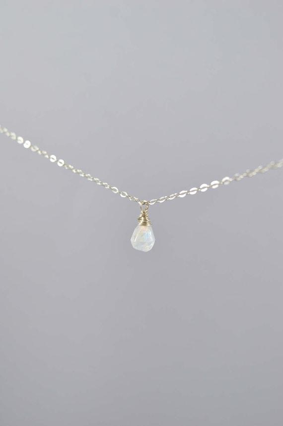 Rainbow Moonstone Tiny Teardrop Necklace, Rainbow Moonstone Necklace, Moon Stone Necklace, Moonstone Jewelry