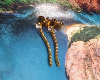Gold Chain Stud Earrings, Stud Earrings Chain, Post Earrings Gold Chain, Gold Rope Studs, Drop Chain Stud Earrings, Short Chain Gold Studs