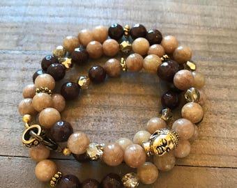 Triple Wrap Agate Buddha Necklace