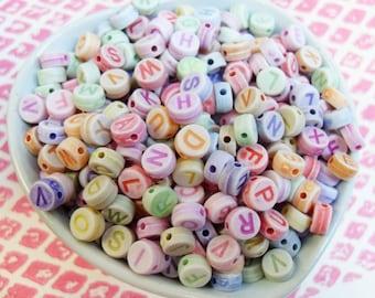 150x 6mm Pastel Coloured Alphabet Round Resin beads