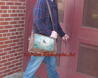 Brown Canvas Messenger Bag Rustic Bird on Barbed WIre Brown Tan A476