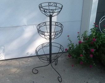 Vintage Iron Scroll Plant Stand, Metal Plant Stand, Metal Planter, Rustic Metal Basket Planter, Rustic Metal Plant Stand
