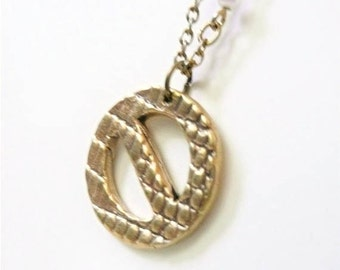 4 NO SYMBOL brass from recycled bullet casings Pendant Charms Not permitted Prohibition symbol