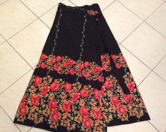 Vintage 70s Cotton Black Orange Yellow Floral Wrap Skirt Sz Small Medium
