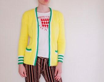 Vintage 60's tennis cardigan, bright lemon yellow, green & white trim, pockets - Small