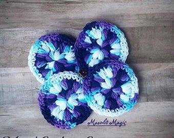 Crochet Cotton Face Scrubbies, Moonlit Magic Face Scrubbies, Reusable Washable Face Scrubbies, 100% Cotton Scrubbie