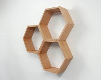 Hexagon Wooden Shelf // Shadow box // Tasmanian Oak