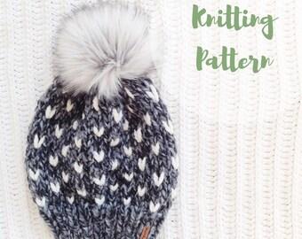 KNITTING PATTERN / / The Minnehaha Hat / / Fair Isle Knitting, Adult Knit Hat, Hat Knitting Pattern, Fair Isle Pattern, Toque Pattern