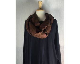 Infinity Boho Loop Circle Scarf - Bark Brown Linen w/ Leaf Art  Hand printed Scarves  Ready to Ship