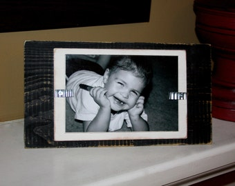 Picture Frame - Distressed Wood - Stand Up - Holds a 4x6 Photo - Black and White
