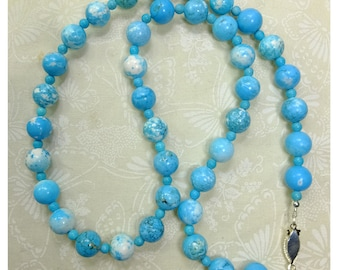Elegant Simplicity Dyed Blue and White Colored Manganese Stone Beaded Necklace