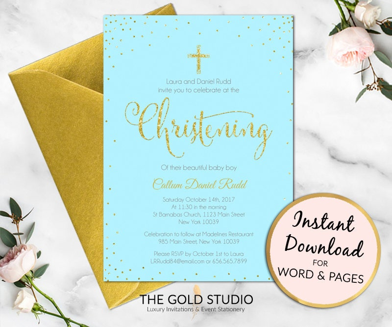 Christening invitation Instant Download | Blue and Gold glitter ...