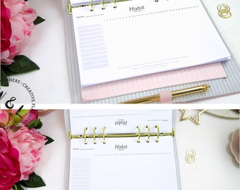 Printed Habit tracker, Daily habit planner, Productivity planner, A5 Planner refill, Planner Inserts, Printed inserts, Planner A5