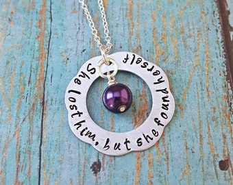 She Lost Him, but she found Herself - Breakup Gift - Breakup - Divorce - Divorce Gift - Inspirational - Sympathy Gift - Strength Necklace -