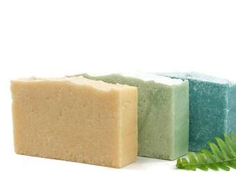 Salt Soap Set of 3 | Palm Free, Salt Soap Bars, You Choose Types, Cold Process Soap, Palm Oil Free, Gift Idea Wrapped | Three (3) Salt Soaps