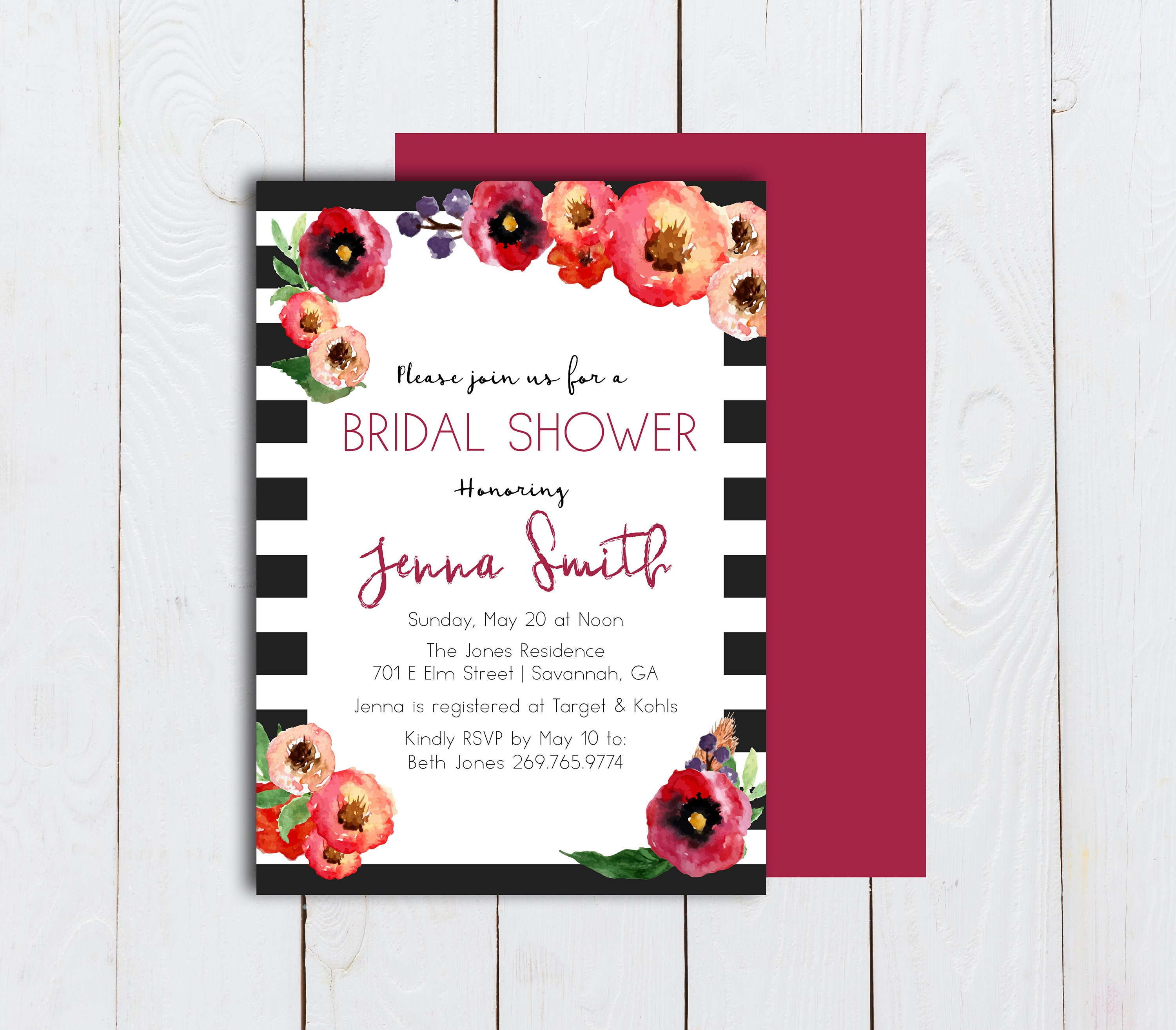 Black and white striped invitation watercolor floral and