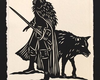 Game of Thrones - Jon Snow Papercut - Hand-Cut Silhouette Papercut