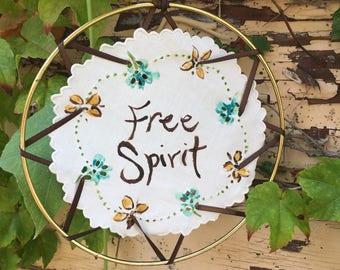 "Free Spirit Doily Mandala Suncatcher 7"""