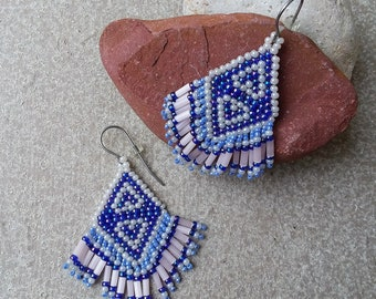 Small Comanche Brick Stitch Beaded Heart Earrings in Pink & Blue Glass Seed Beads Southwest Beadwork Western Cowgirl Native American Huichol