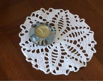 Small crochet doily handmade cotton