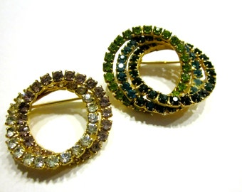 Vintage Brooch Lot 2 Eternity Circle Green Rhinestone Brooch Pin Lot of 2 Pins Gift for Her Under 15 Holiday Gift Idea