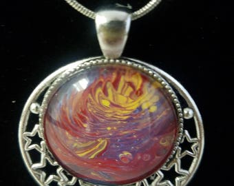 004 - Beautiful Acrylic Pour Pendant with stars on a 20in. chain