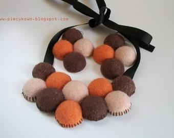 Chocolate Nuts and Oranges - Orange Brown and Beige Felt Bib Necklace and Earrings OOAK