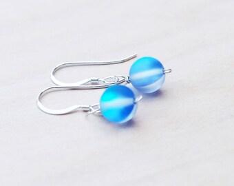 Blue Earrings, Glass Bead Earrings, Iridescent Earrings, 925 Sterling Silver, Wire Wrapped Earrings, Dangle Earrings, Boho Earrings