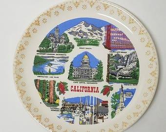 Vintage California Souvenir Ceramic Plate Golden State Lake Tahoe CA USA