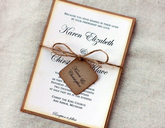One Page Wedding Invitations: Simple Rustic Wedding Invitations Vintage Wedding Invitation