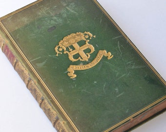 Antique English Leather Book from Christ's Hospital - Blue Coat School- 1800s French Book
