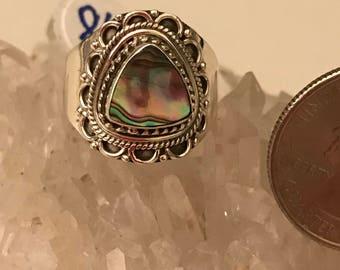 Abalone Ring Size 8 1/2
