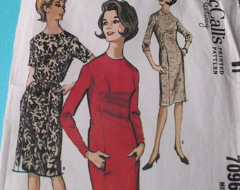 Vintage Sewing Pattern McCall's 7096 for a Woman's Sheath Dress in Size 12